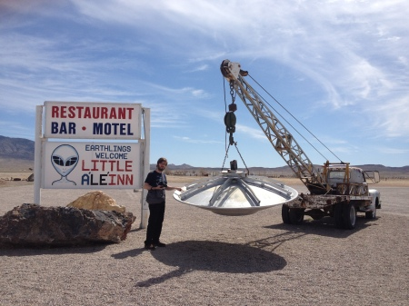 On this week's hot topic of aliens, here's Martin the Sound Man just outside Area 51