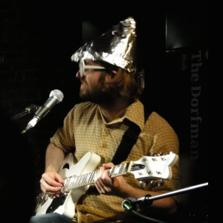 Martin the Sound Man sports a tinfoil hat at AMT100